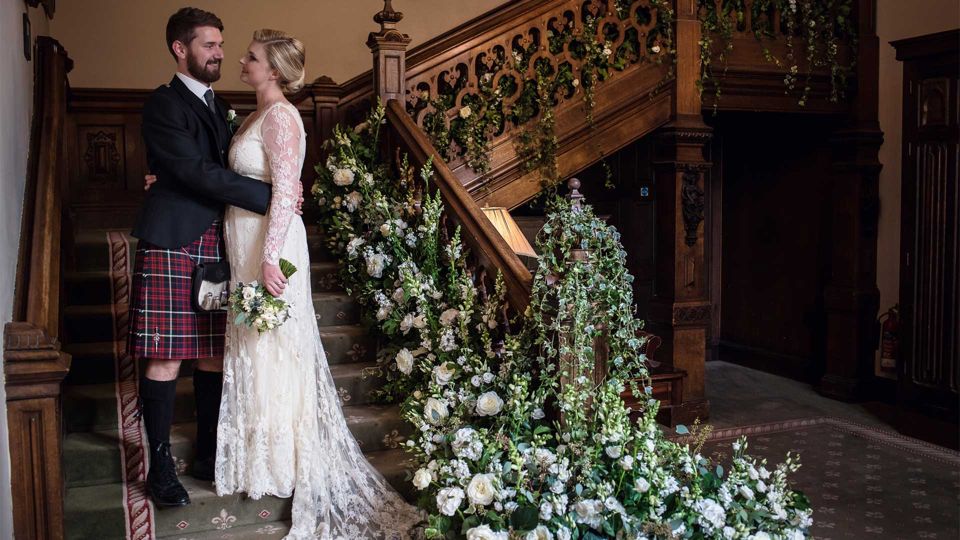 Staircase Wedding Flowers Sussex